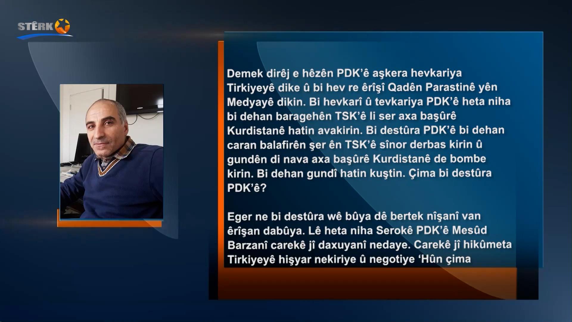 Mehmet Alî Ertaş: Mesûd Barzanî eşkere hevkariya şer dike